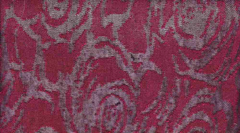 90919-64707MD / #444 RED / 50%POLY SPUN 50%RAYON Burn Out Rose Hacci