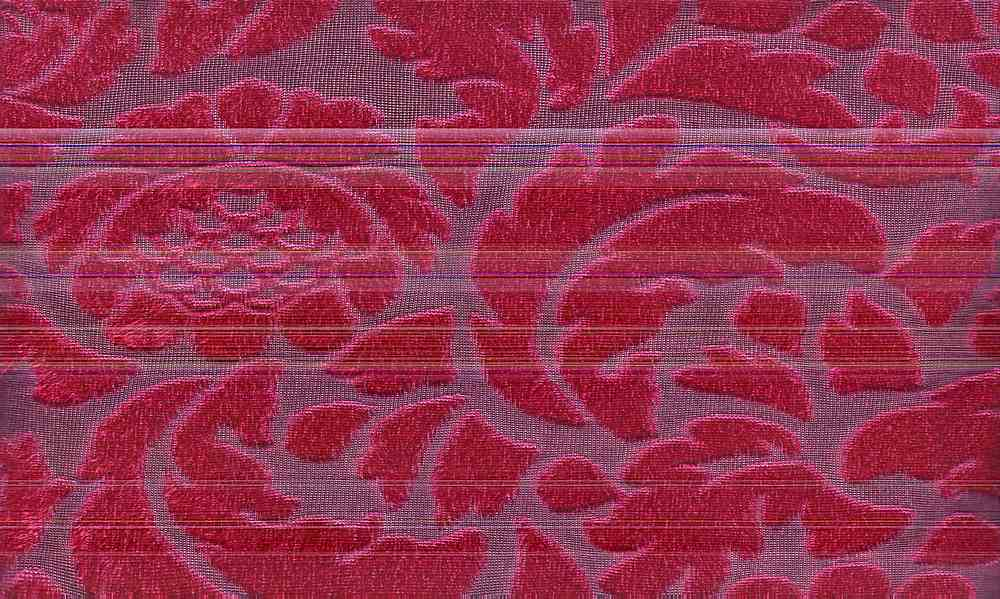 90957-1001 / #044 BLK/RED / 100% POLYESTER VELOUR PANNE JACQUARD