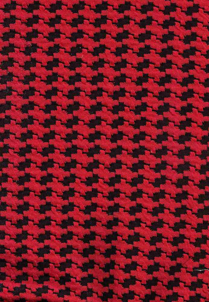 91410-1000 / #004BLK/RED / 96/4 POLY SPAN HOUNDS TOOTH KNIT JACQUARD