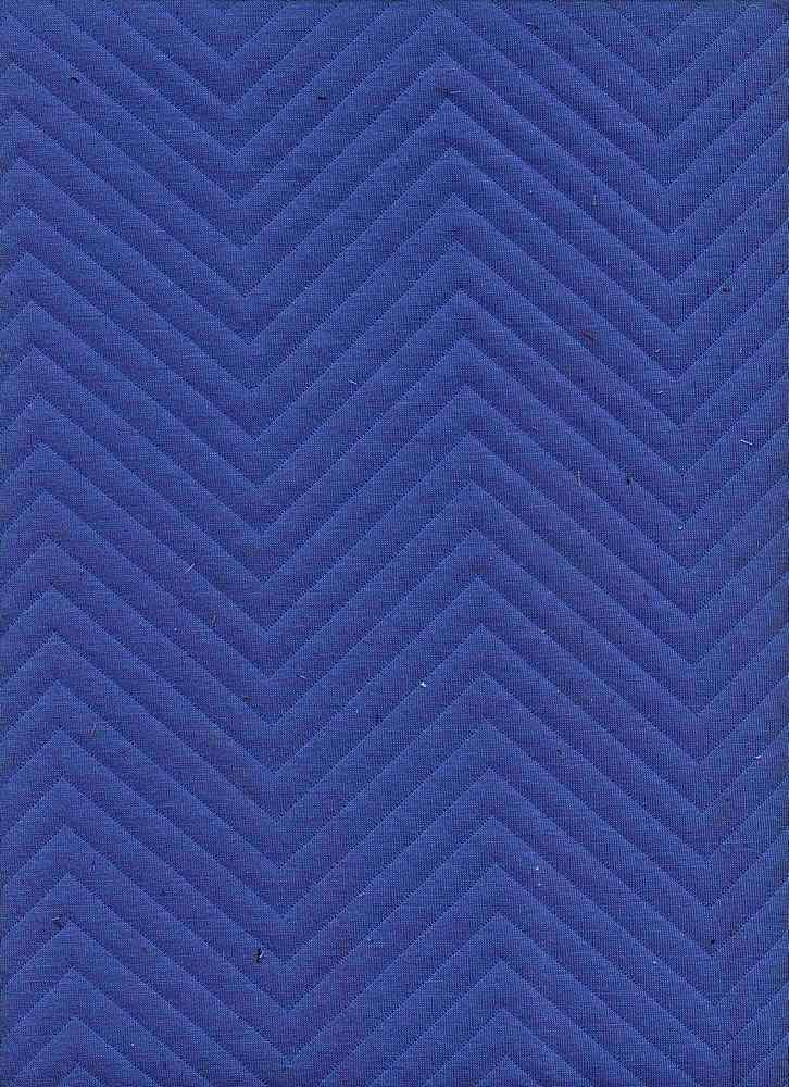 76306-1100 / #222CAMP BLUE / CHEVRON QUILTED KNIT 97/3 POLY SPAN 62/64 260GSM