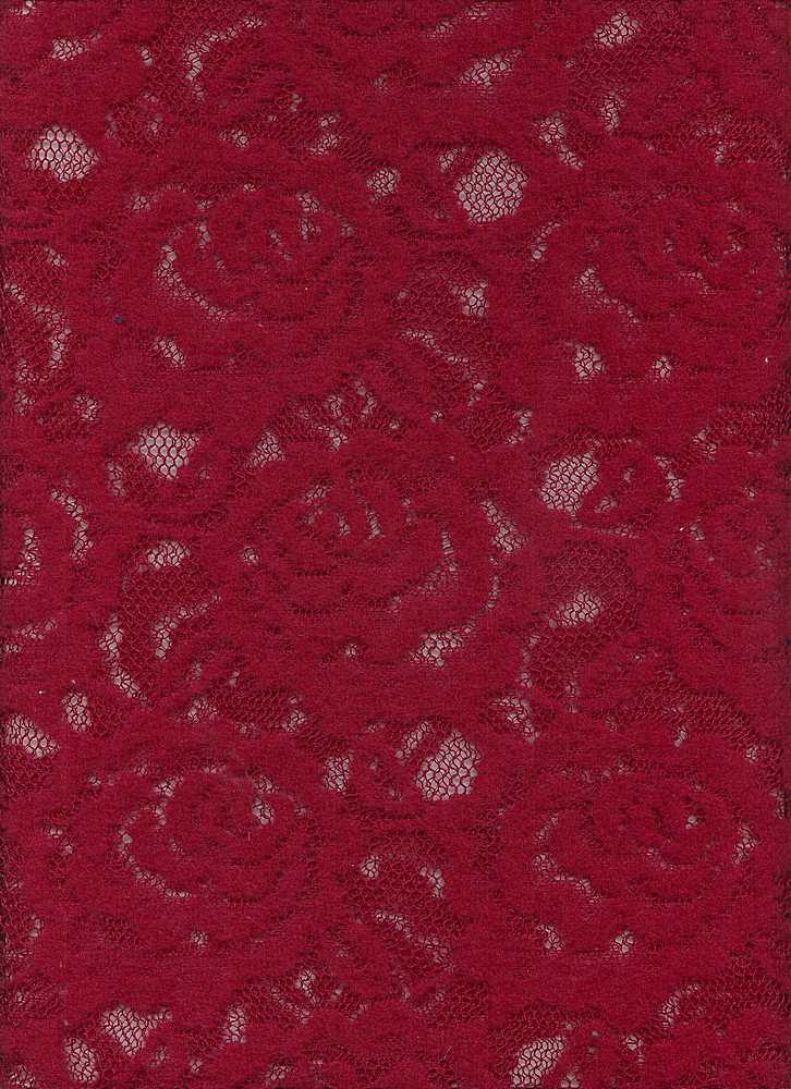76315-1000 / #999CHERRYWOOD / CABBAGE ROSE BRUSHED LACE 100%POLY 58/60  115GSM