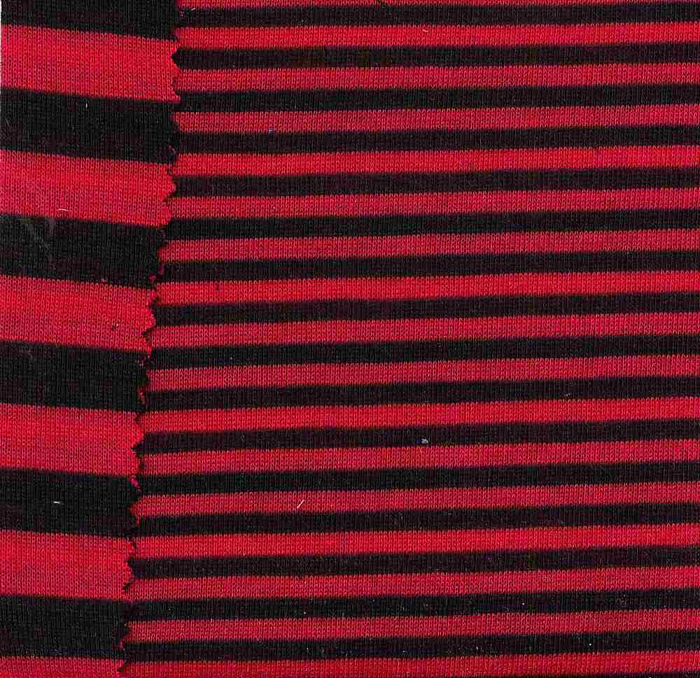 76366-1000 / #004BLK/RED / DOUBLE FACE STRIPE KNT80%POLY 17%RAYON 3%NYLON