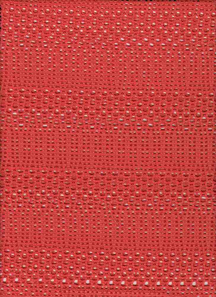 76479-1100 / #999CORAL / WIDE STRIPE CROCHET MESH 100% POLY 125 GSM