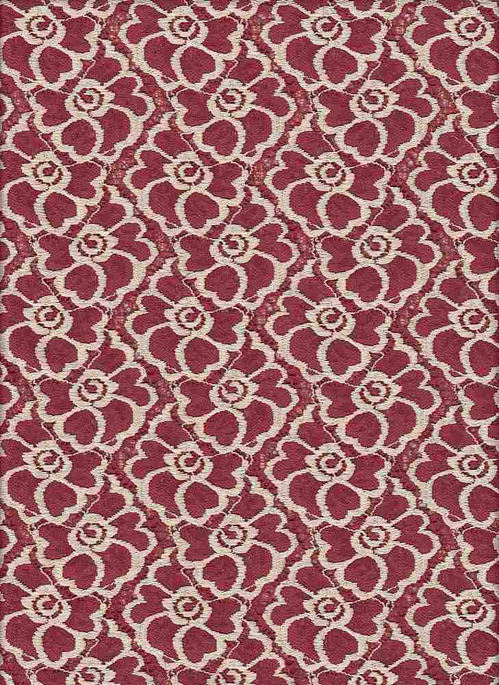 """76565-1000 / #444RED DESERT / FLOWER PATCH LACE 50/45/5NYLN PLY SPN 155GSM 58/60"""""""