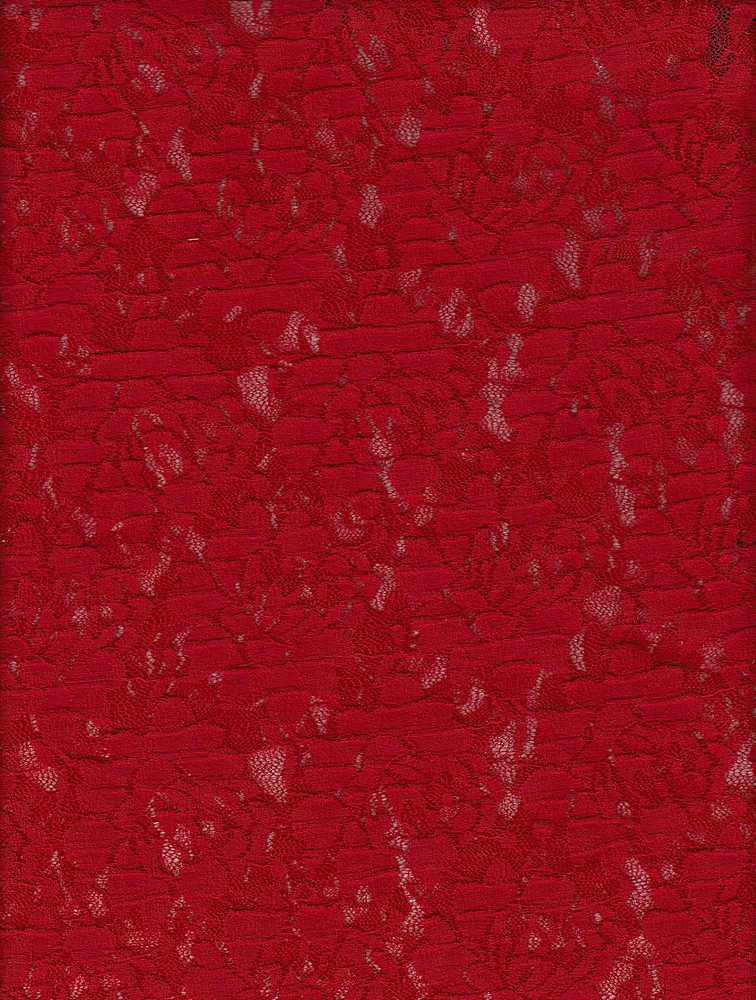 """76720-1000 / #444RED TANGO / CREASE CABBAGE LACE 90/10 NYLON SPAN 57/58"""" 135GSM"""