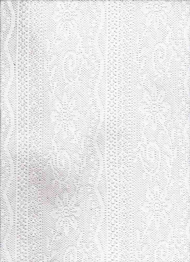 "76877-1100 / #111WHITE / POLLY STRIPE FLOWER LACE 100%POLY 60"" 70GSM"