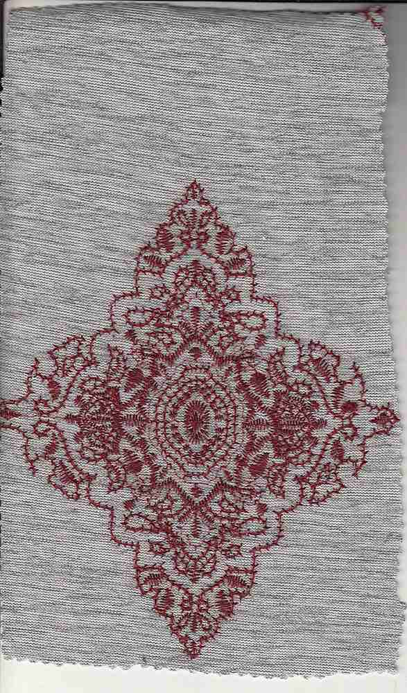 76996-74081 / #004HEATHER GREY/WINE / MOROCCAN EMBROIDERY SWEATER KNT 97/3PLY SPN 245GSM
