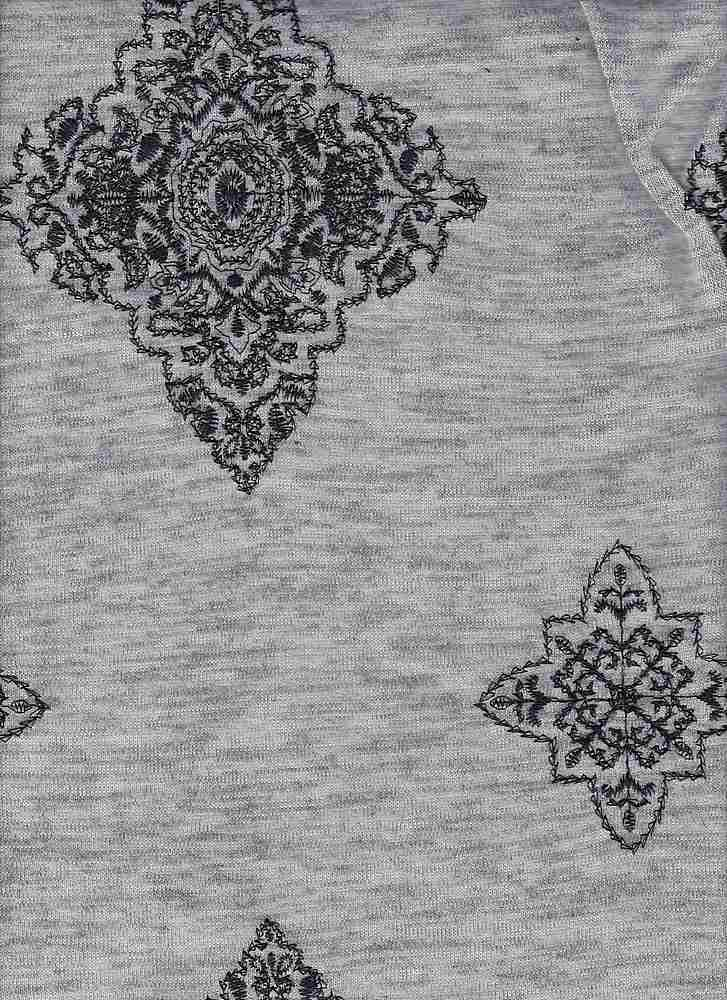 76996-74081 / #010HEATHER GREY/BLACK / MOROCCAN EMBROIDERY SWEATER KNT 97/3PLY SPN 245GSM