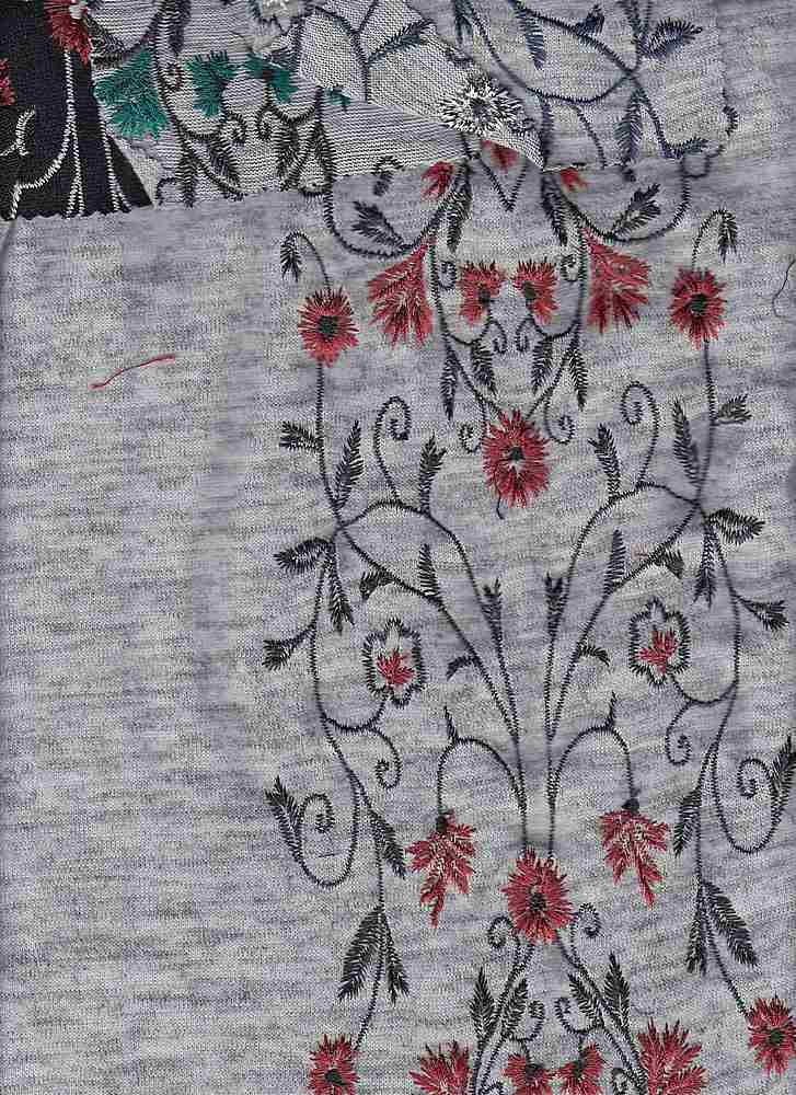 76997-73026 / #014HEATHER GREY/WINE / VINE EMBROIDERY SWEATER 97/3PLY SPAN 56/57 255GSM