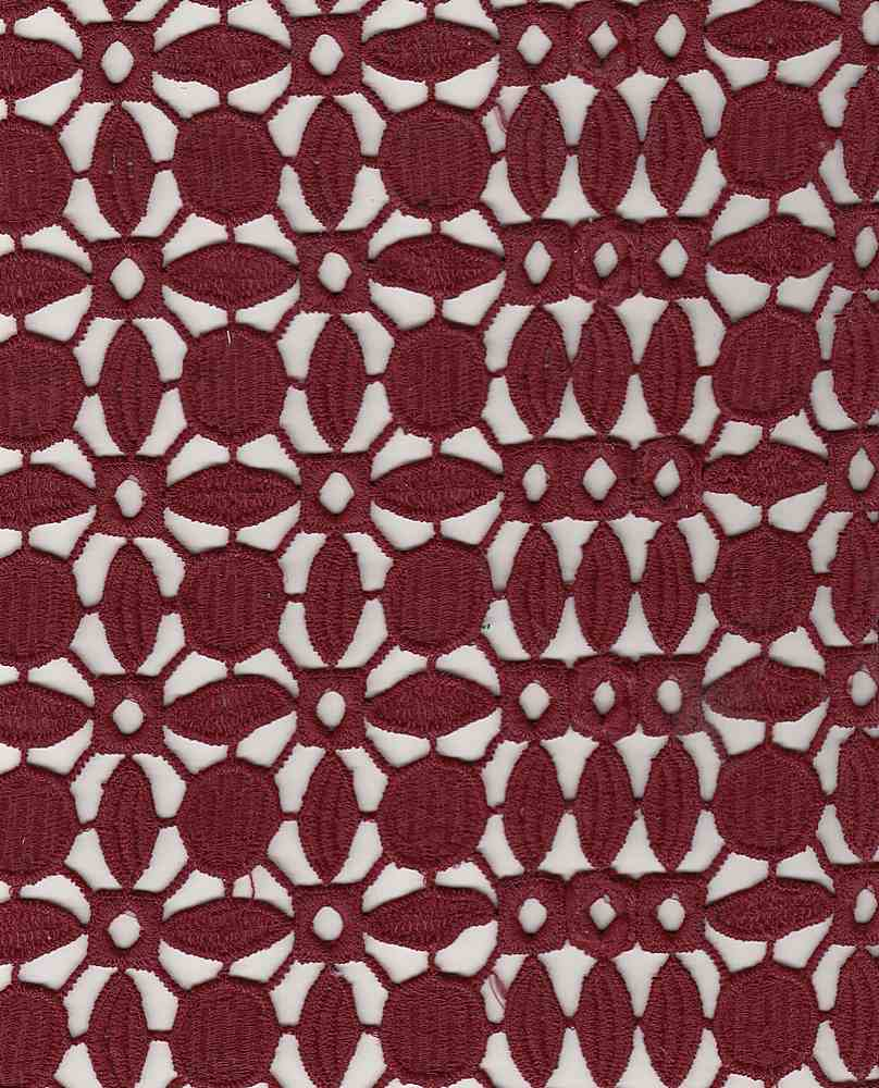 """91542-1000 / #444WINE / MILDRED CHEMICAL LACE 100%POLY  200GSM 47"""""""
