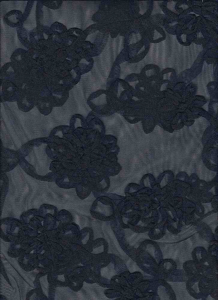 """85055-74369 / #222MIDNIGHT / ALL OVER FLORAL SOUTACHE MESH 100%POLY 10GSM 52"""""""