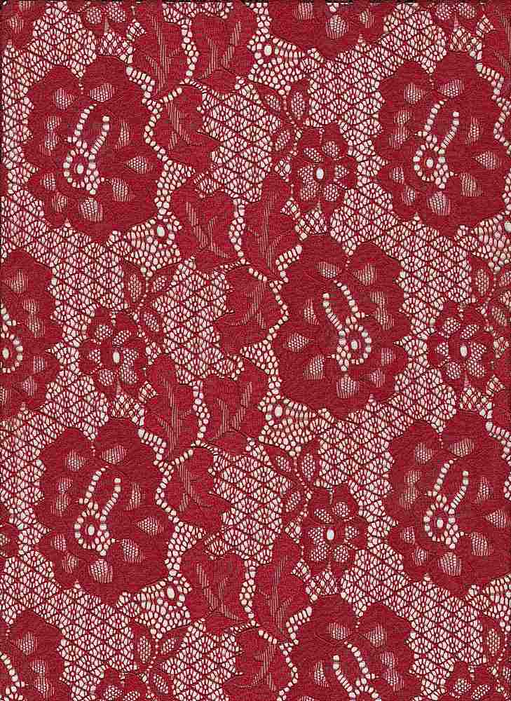 """85076-1000 / #444SCARLET / MARA STRETCH CORDED LACE 92/8NYLN SPN 145GSM 57/58"""""""