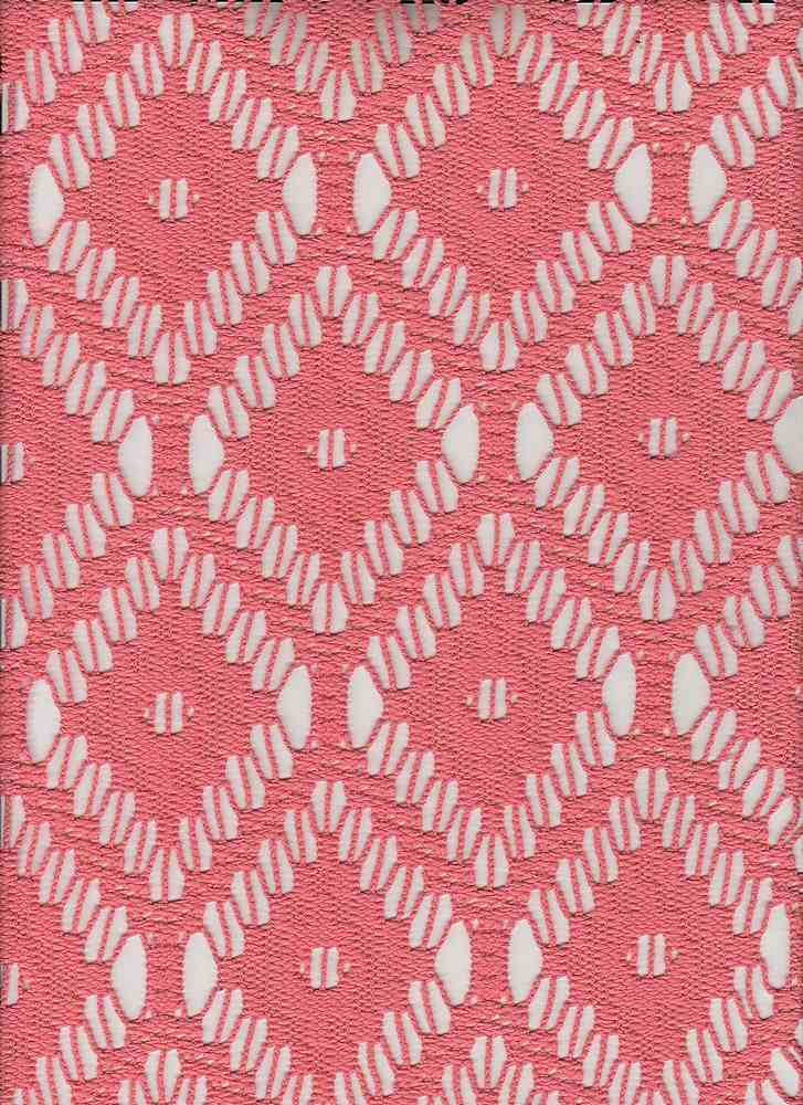 """85118-1000 / #999CORAL / CARRIE CROCHET 100%POLY 190GSM 56/57"""""""