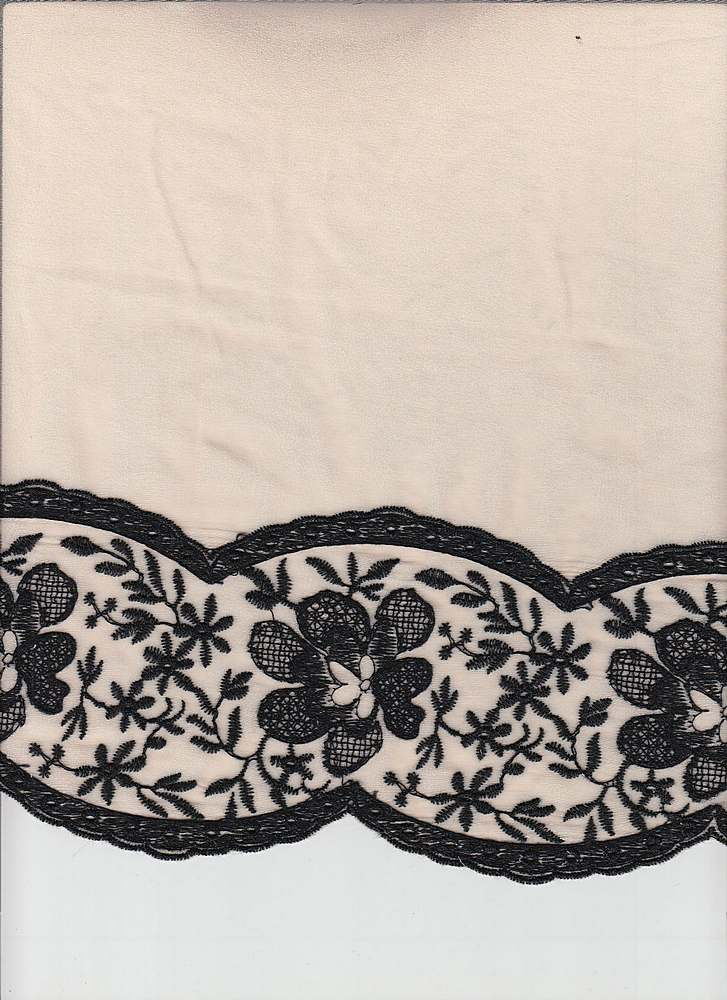 95057-88071DB / #910SOFT PEACH/BLK / LACEY BORDER EMBROIDERY CHIFFON 100%POLY 95GSM