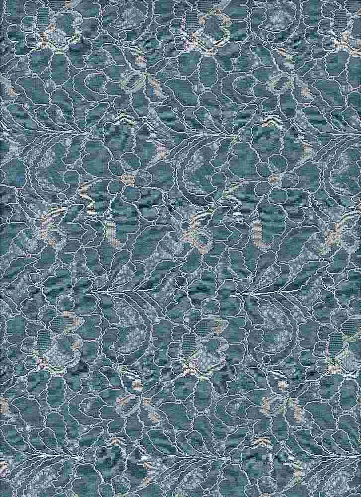 """76862-1100 / #212FADED DENIM / 2 COLOR FLORAL LACE 65/35 NYLON RAYON 110GSM 57"""""""