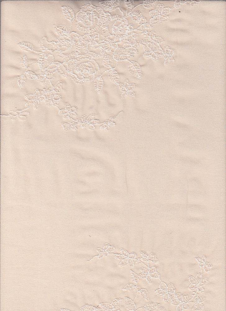 """95057-88072 / #911SOFT PEACH/WHT / CAGNEY EMBROIDERY CHIFFON 100%POLY 100GSM 53/54"""""""