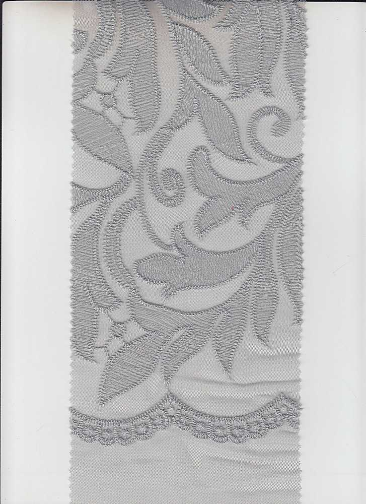 """95111-1000SE / #010SILVER / FRANNY SCROLL POLY MESH EMBROIDERY 100%POLY 51"""""""