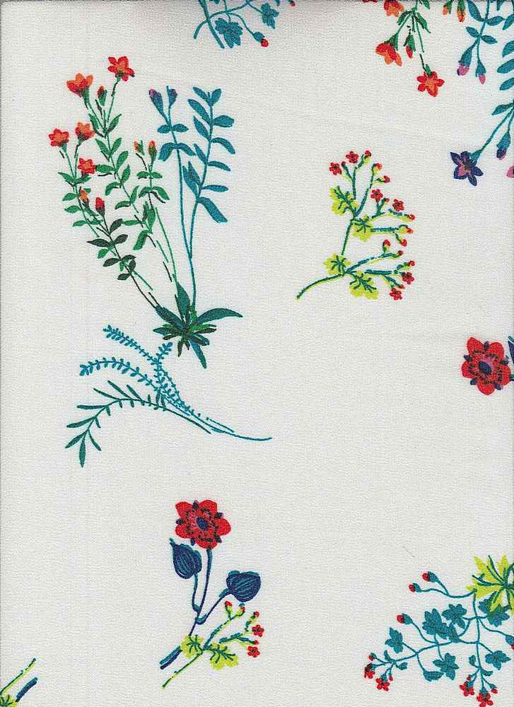 1636-74072-MD3 / #146IVO/RED/TUR / 100%POLYESTER CATALINA CREPE S/P - 150 GSM
