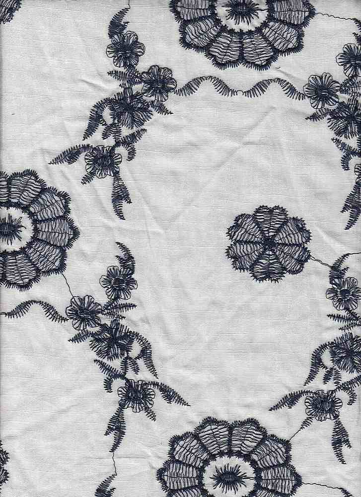 "91579-88036 / #112IVO/NAV / APRIL FLORAL EMBROIDERY 100%RAYON 52/53"" 180GSM"