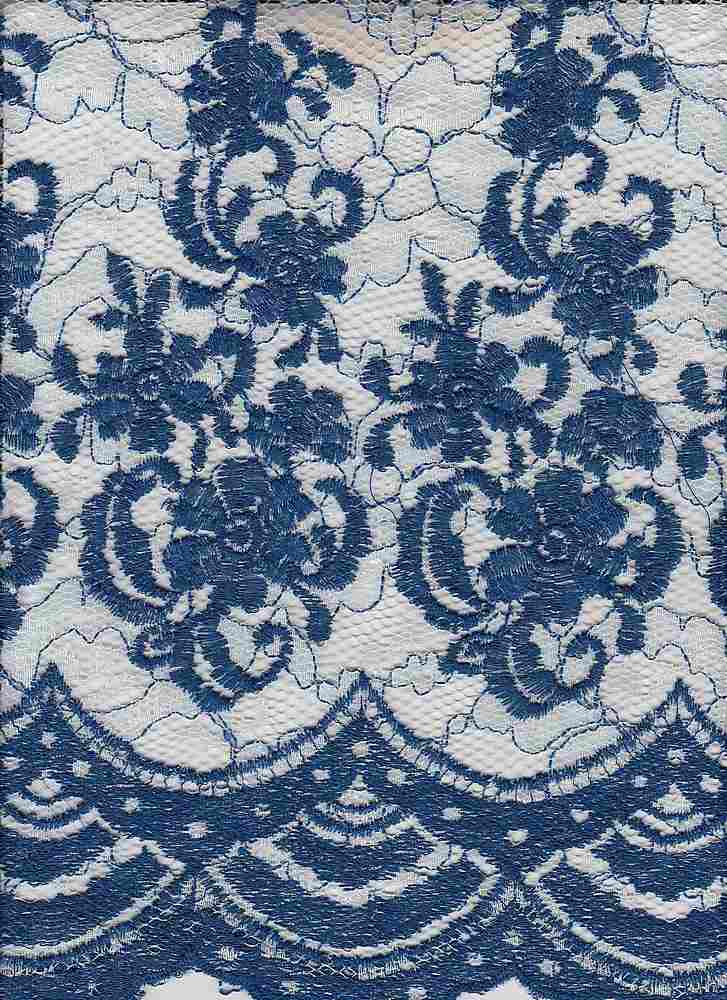 """95126-1000DB / #112WHITE/ROYAL / Brooklyn Lace Embroidery 100% Poly 160gsm 48/49"""""""