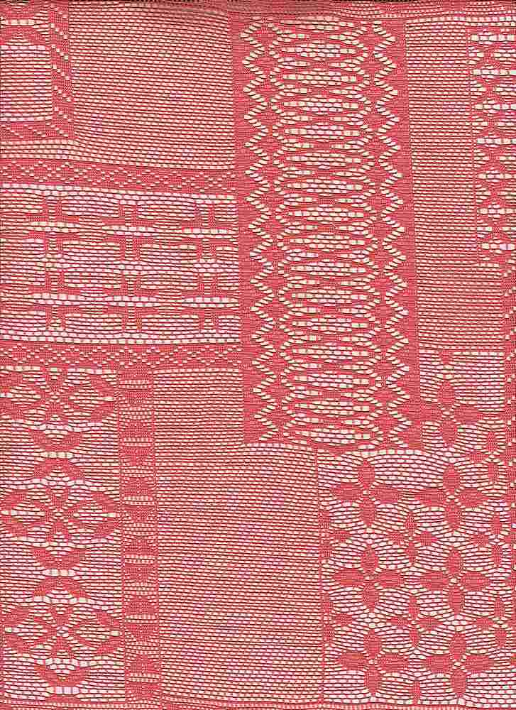 """85204-74772MD / #999SUMMER CORAL / SAMARA PATCHWORK LACE 95/5 POLY SPAN 105GSM 57"""""""