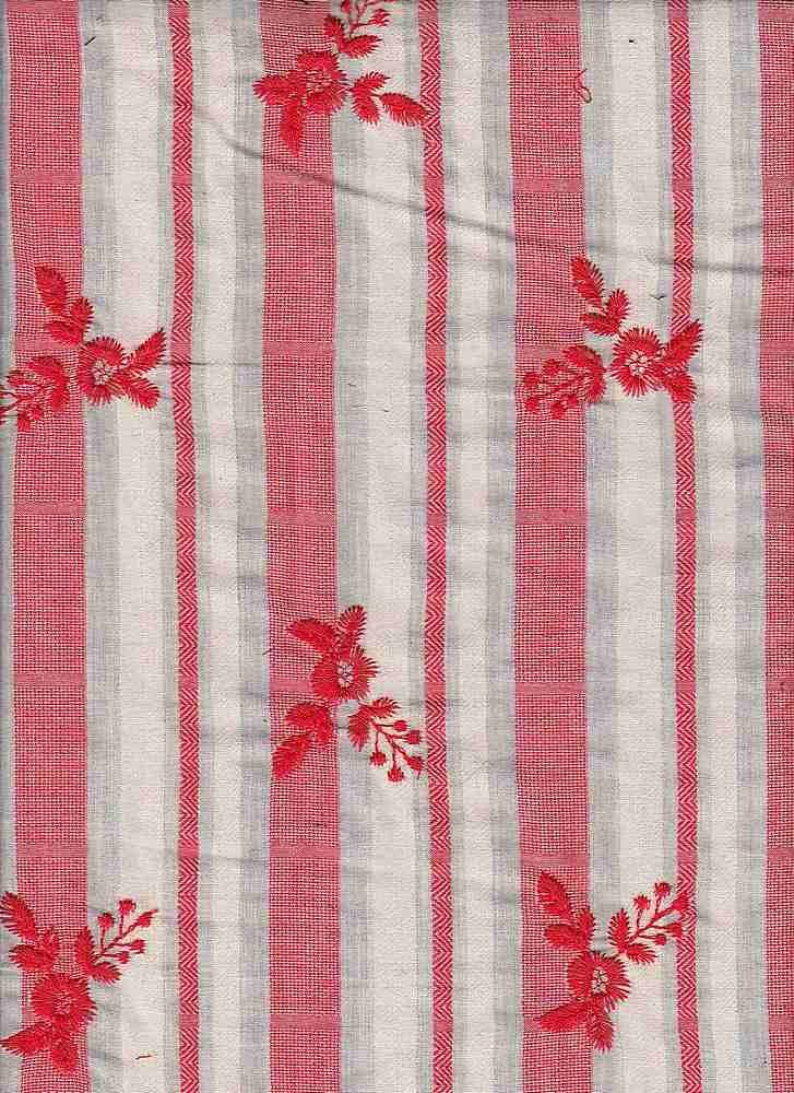 91605-88116MD / #999SUMMER CORAL / PHOENIX ALL OVER EMBROIDERY 100% COTTON 120GSM