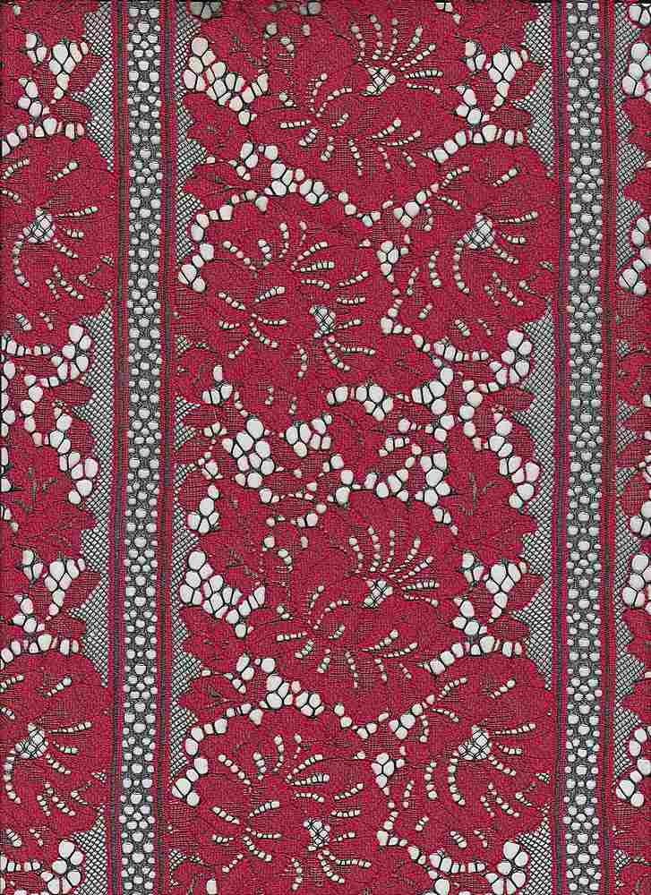 95149-1000 / #004BLK/RED / HIDDEN GARDEN LACE 37%NY 3%POLY 60%COTTON 120GSM
