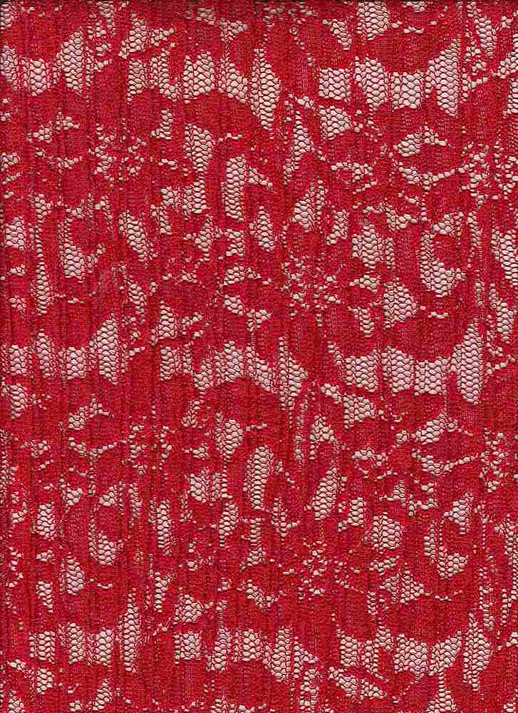 """95184-1000 / #444GALA RED / PLEATED LACEY 100%POLY 160GSM 58""""CUTTABLE"""