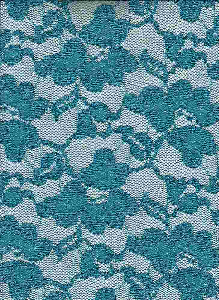 95145-1000 / #666TURQ / DANCE FEVER LACE W/O GLITTER 95/5PLY SPN 120GSM