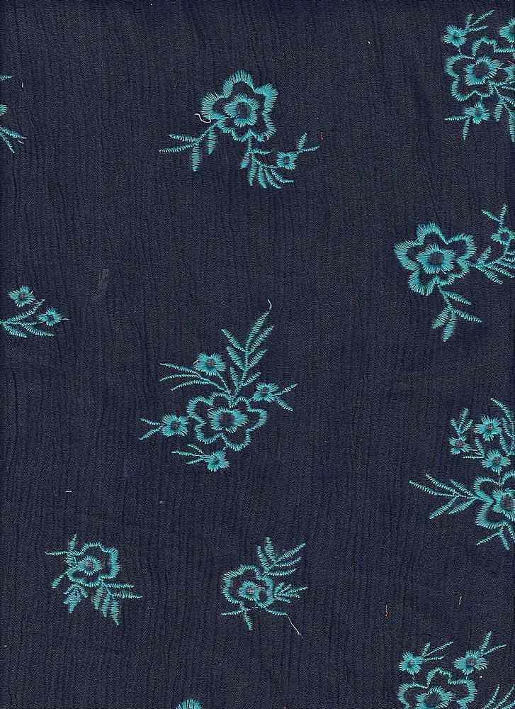 91616-88135 / #223NAVY/JADE / JACOBY FLORAL EMB ON CREPON 100% RAYON