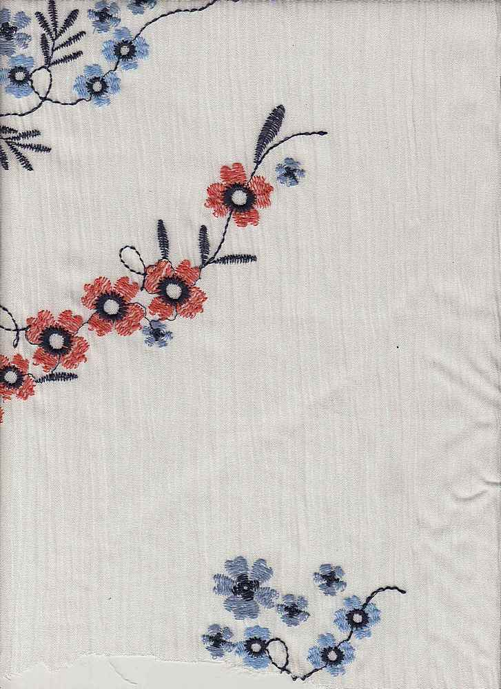 """95308-88200 / #112IVO/BLUE / FOREVER DAISY EMB 100%RAYON 160GSM 47/48"""""""