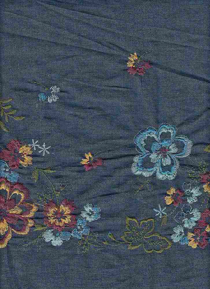 "91670-1000SB / #222DK DENIM / ROWENA DENIM EMBROIDERY 100%COTTON 51/52"" 135GSM"