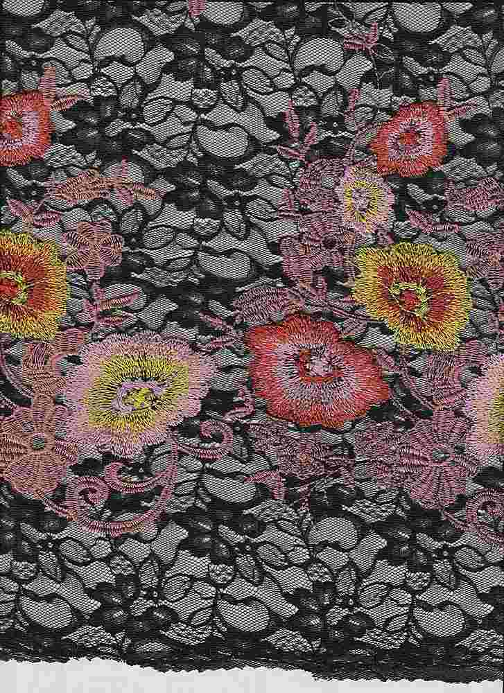 """85385-1000SB / #009BLK/CORAL / EVITA LACE EMBROIDERY 100%POLY 54"""" 130GSM"""