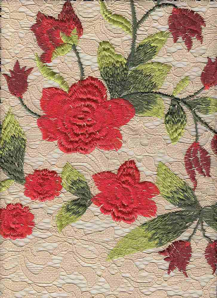 """85395-1000SB / #994BLUSH/SCARLET / LOLITA EMBROIDERY CORDED LACE 100%POLY 47"""""""