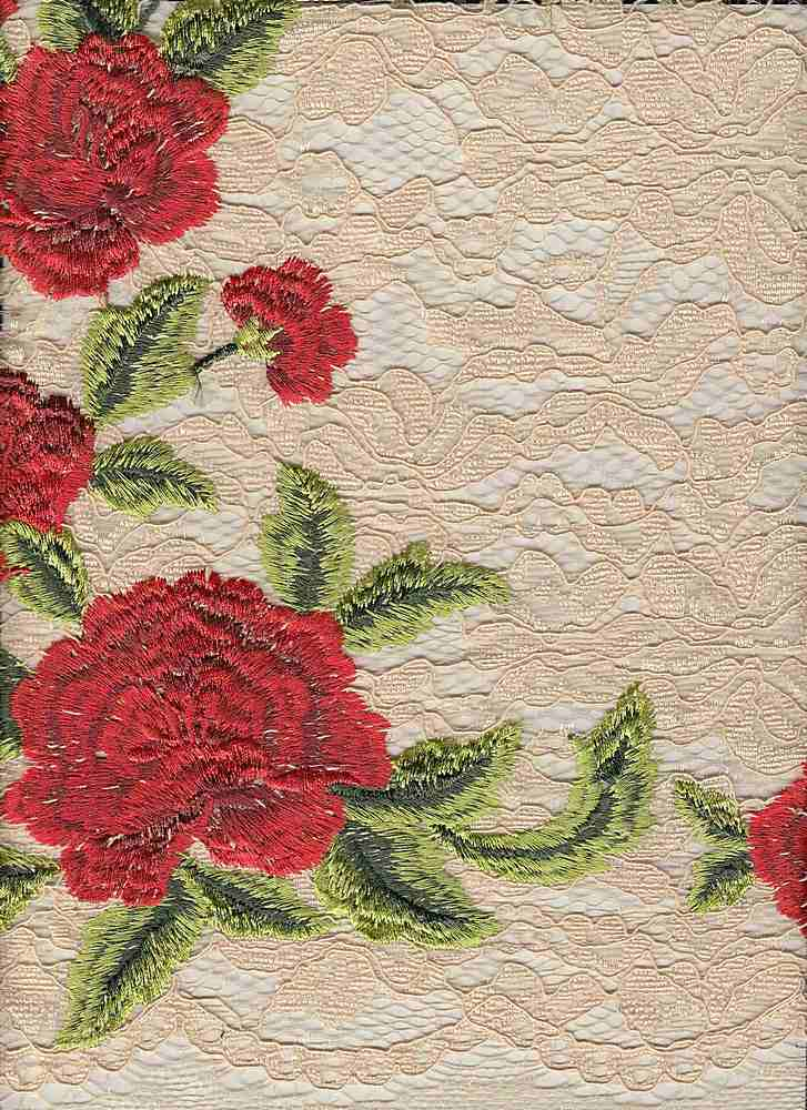"""85394-1000SB / #994BLUSH/SCARLET / ROSITA EMBROIDERY CORDED LACE 100%POLY 47"""""""
