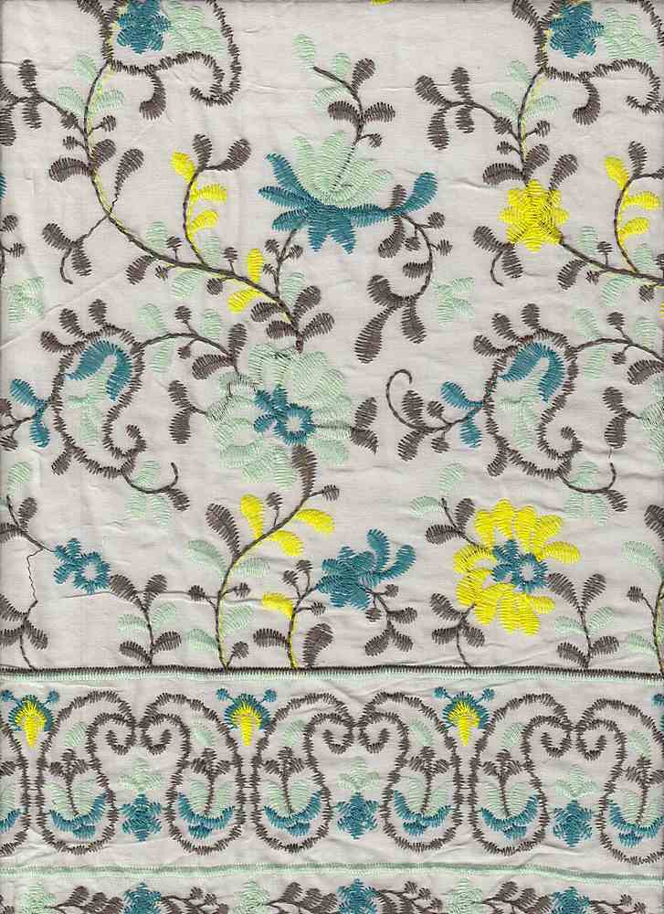 """91704-88251SB / #113IVO/MINT / PAISELY VINE RYN EMBR 100% Rayon 110GSM 51/52"""""""