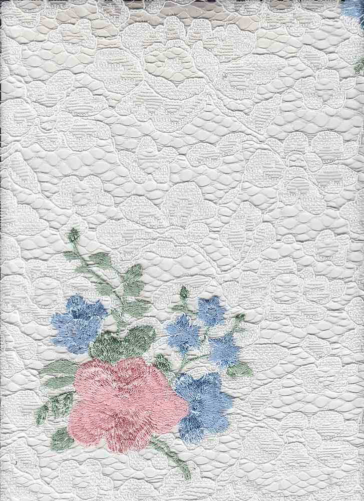 """85426-88281MDSE / #119IVORY/PEACH / RENA FLORAL EMBR LACE 100%POLY 165GSM 50/51"""""""