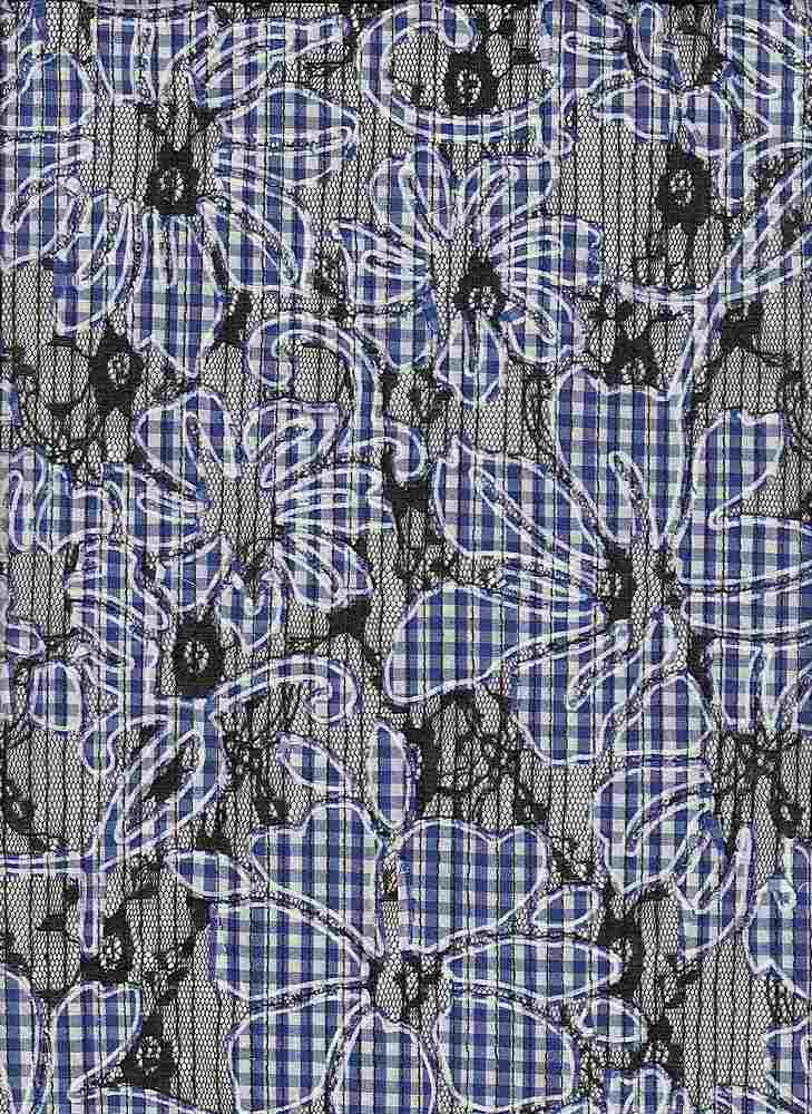 """85432-1000 / #222ROYAL / LUCILLE GINGHAM ON LACE 100%POLY 135GSM 53/54"""""""