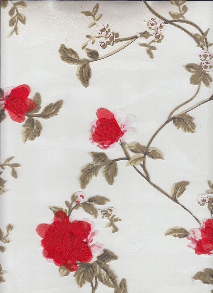 """95372-1000 / #404RED / 3D PARTY FLORAL 100%POLY 55"""""""
