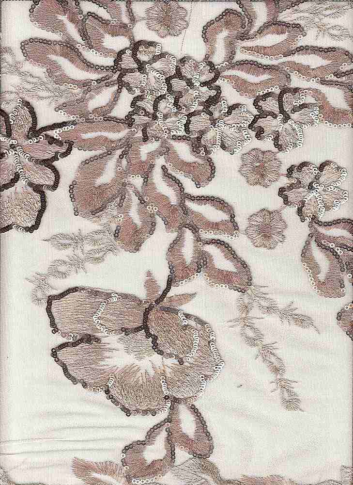 95384-1000 / #999BLUSH / CORSAGE SEQUIN EMBROIDERY 100%Poly 52/53 159gsm