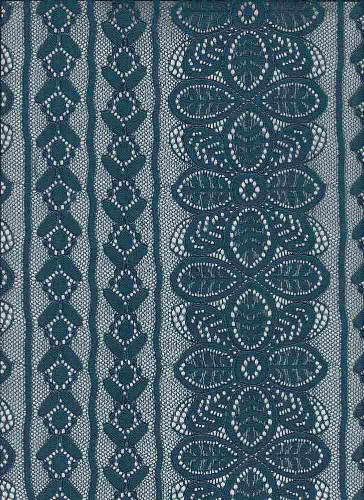 85463-1100 / #666TEAL / OPHELIA DELICATE CORDED STR LACE 88/12 NYLN SPN