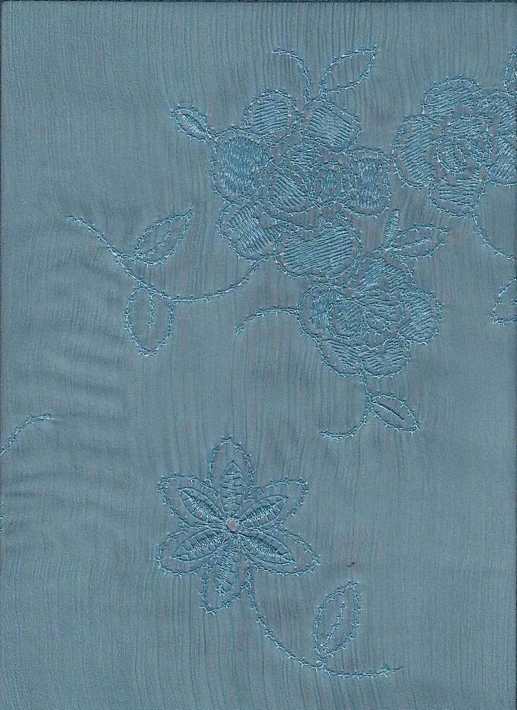 91750-1000 / #666TEAL / PIGMENT DYE YORYU COSMOS EMBR 100% POLY 100GSM