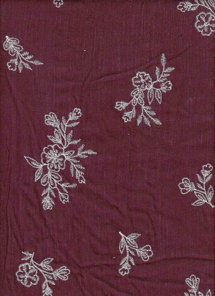 """91781-88321 / #445BURG/NAT / Sequoia Embroidery Crepon 100%Rayon  135gsm 46/47"""""""