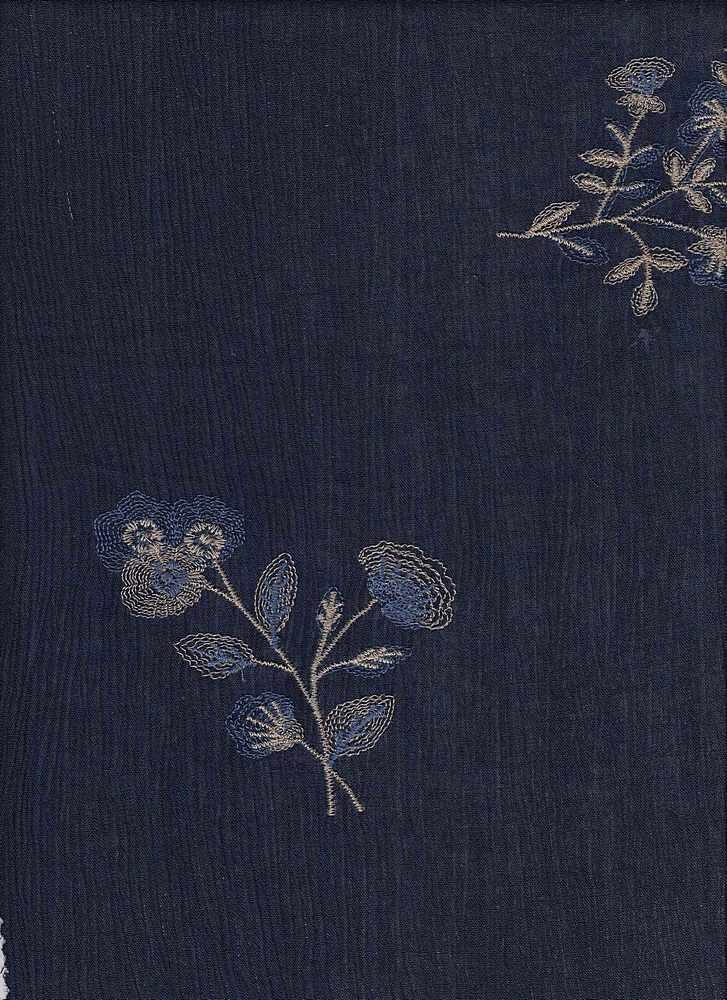 """91790-88320 / #222NAVY / FEATHER FLORAL EMBR CREPON 100%RAYON 200GSM 45/46"""""""