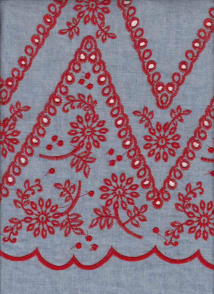 91816-88393SB / #224CHAMBRAY RED / TAMPA EMBROIDERED EYELET 100%COTTON 49/50 80GSM