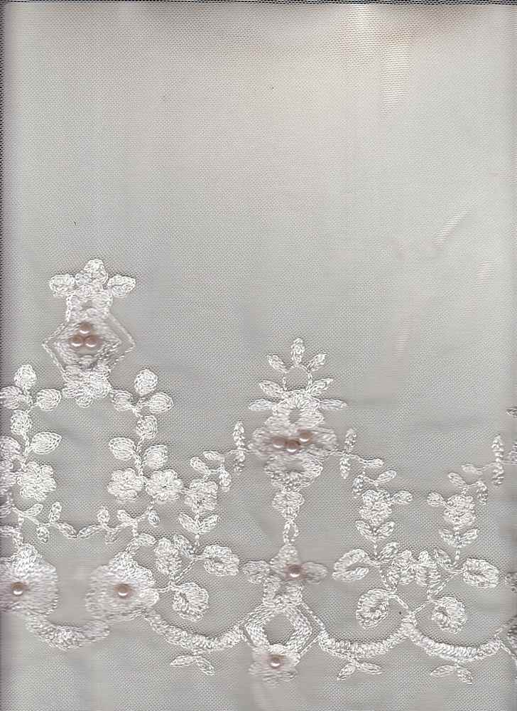 95508-88370DB / #999BLUSH / BORDER PEARL EMBROIDERY 100%NYLON 75GSM 49/50""