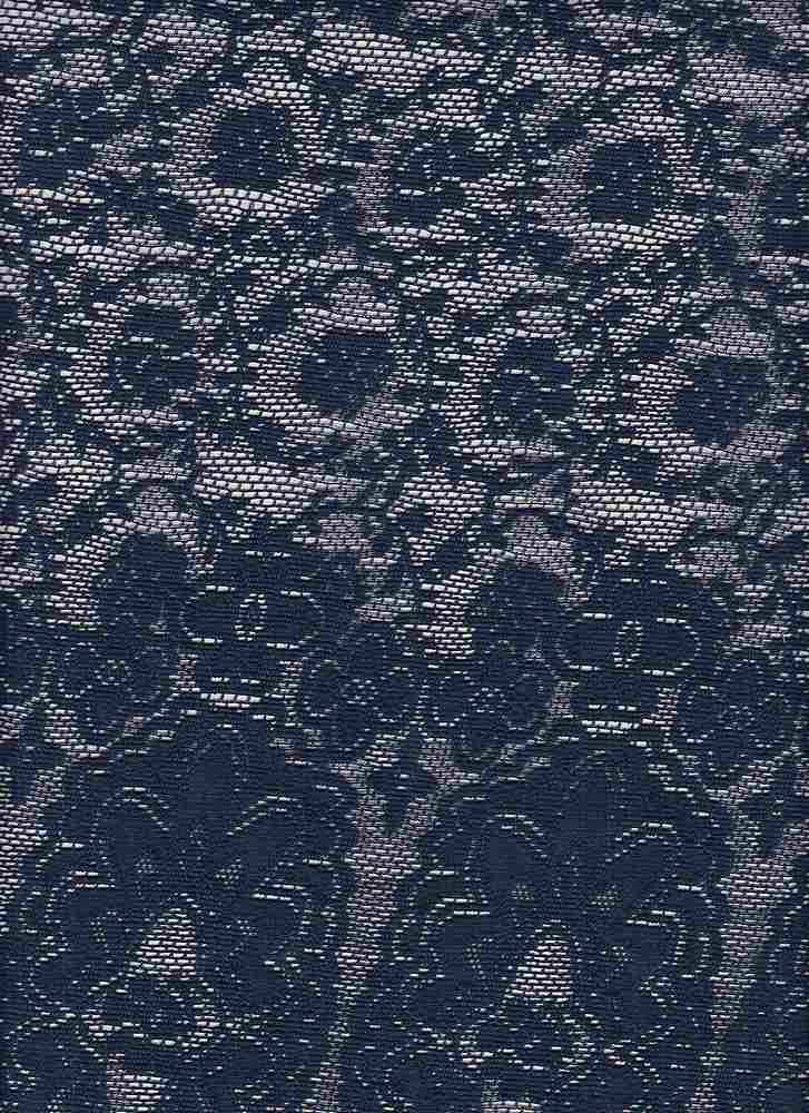 85668-88462DB / #222NAVY / Floral Border Lace 90/10poly Span 110gsm 60""