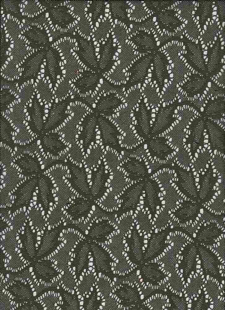"""85670-88458 / #333OLIVE / Leafy Lace 100% Poly 120gsm 56"""""""