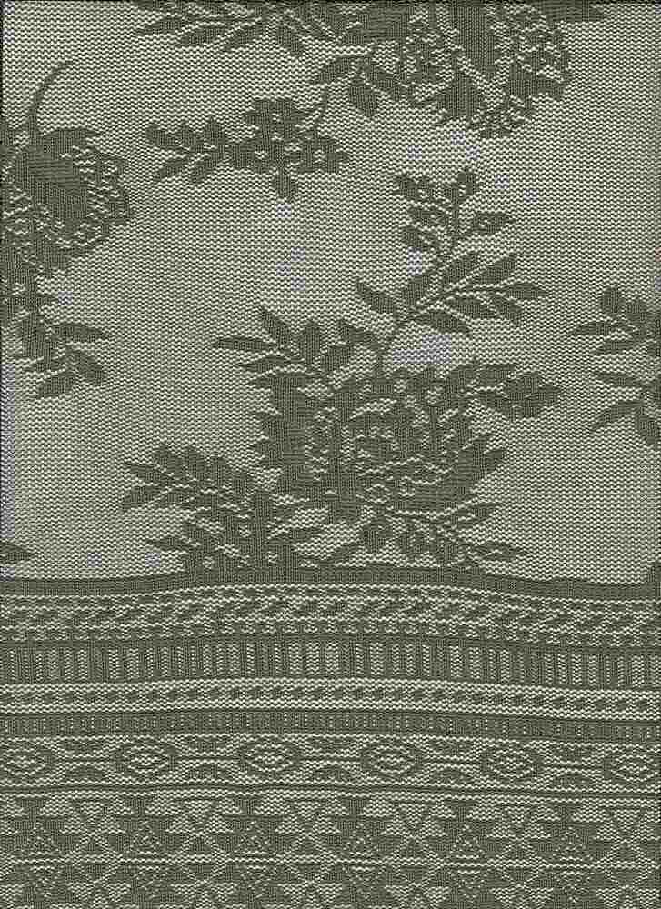 """85679-88480DB / #333SOFT OLIVE / AZTEC BORDER FLORAL LACE 92NYLN 8SPAN 100GSM 56/57"""""""