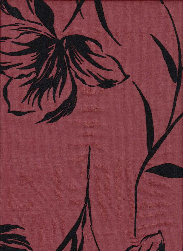 """95578-88542 / #444WINE / Floral Flocked Chiffon 100%Poly 54/55"""" 90gsm"""